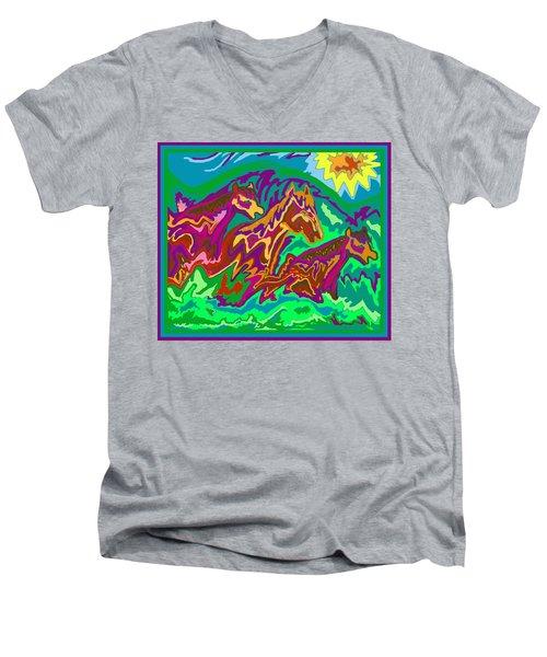 Purple Feathered Horses Men's V-Neck T-Shirt