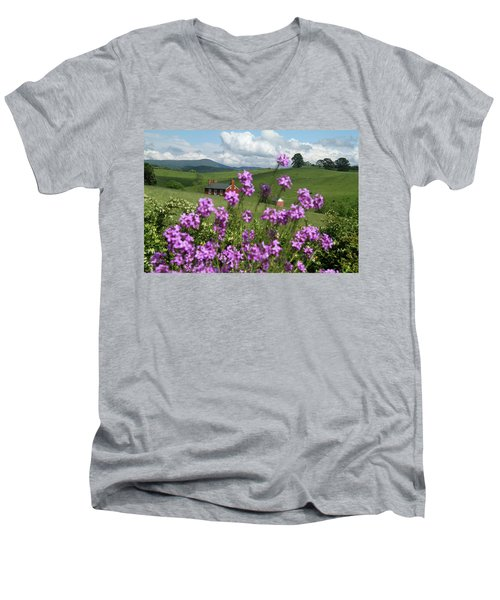 Men's V-Neck T-Shirt featuring the photograph Purple Flower In Landscape by Emanuel Tanjala