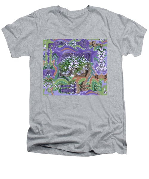 Purple Flower Textured Photo 1028d Men's V-Neck T-Shirt