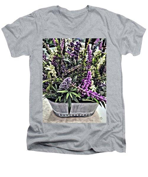 Purple Flowers In Bloom Men's V-Neck T-Shirt