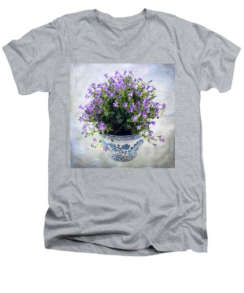 Men's V-Neck T-Shirt featuring the photograph Purple Flowers In Pot by Catherine Lau