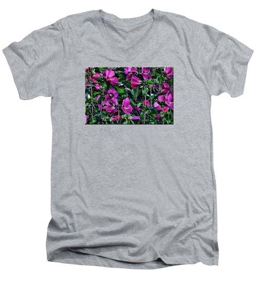 Purple Flowers Men's V-Neck T-Shirt by Mikki Cucuzzo
