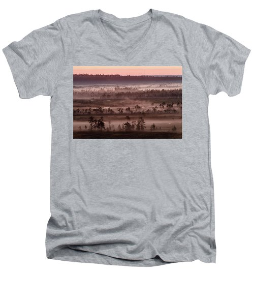 Purple Fog On Swamp Men's V-Neck T-Shirt by Teemu Tretjakov