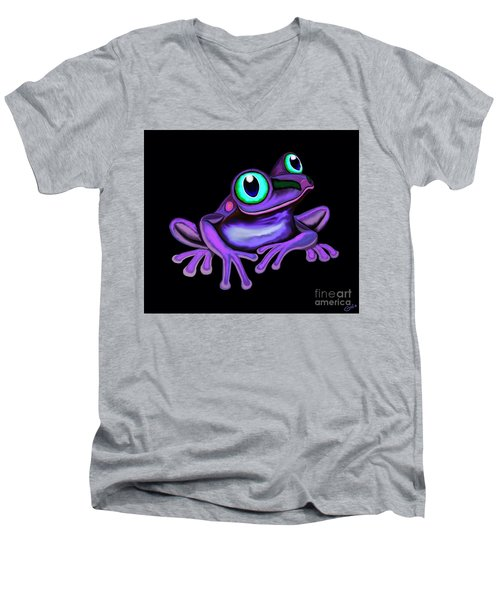 Men's V-Neck T-Shirt featuring the painting Purple Frog  by Nick Gustafson