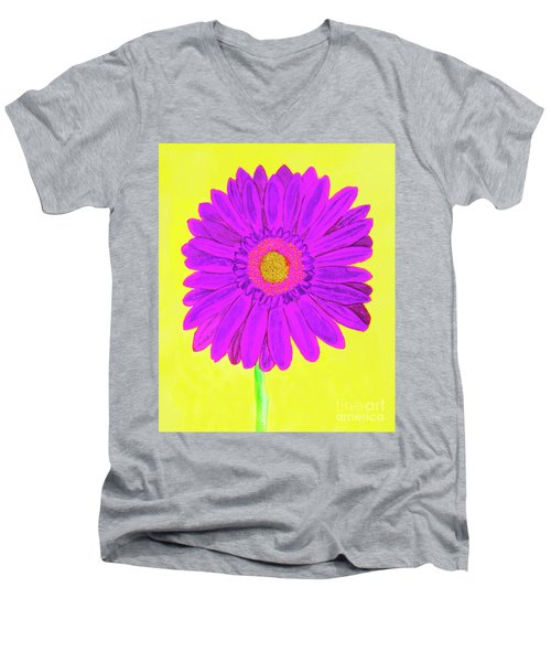 Purple  Gerbera On Yellow, Watercolor Men's V-Neck T-Shirt by Irina Afonskaya