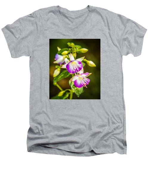 Men's V-Neck T-Shirt featuring the photograph Purple Glow by Jerry Cahill