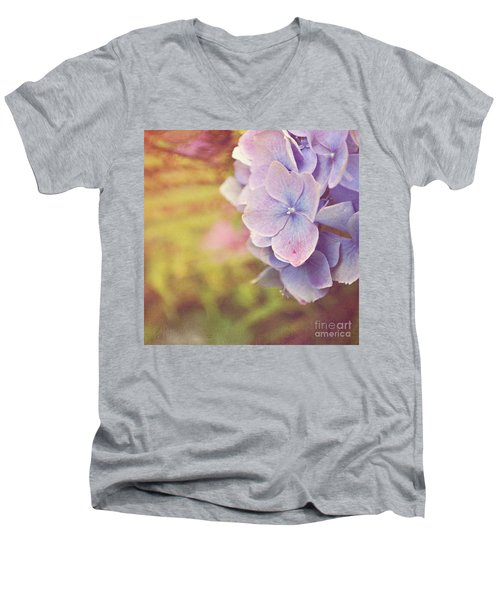 Men's V-Neck T-Shirt featuring the photograph Purple Hydrangea by Lyn Randle