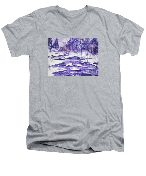 Men's V-Neck T-Shirt featuring the painting Purple Ice On Kaaterskill Creek by Ellen Levinson