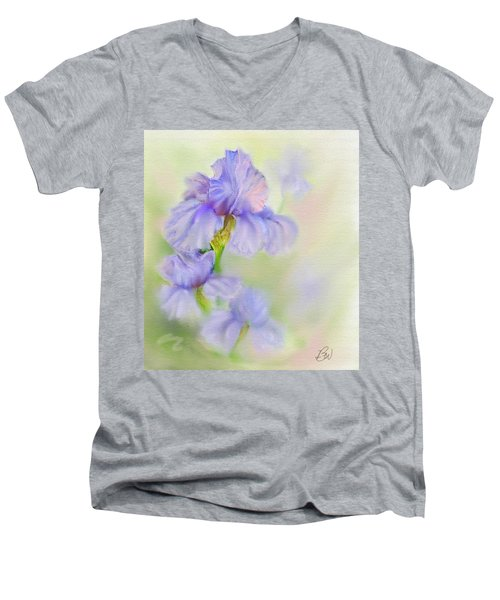 Men's V-Neck T-Shirt featuring the painting Purple Iris by Bonnie Willis