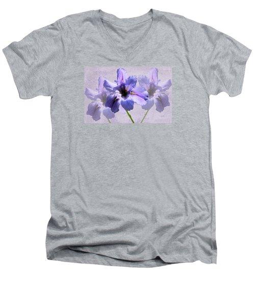 Purple Irises Men's V-Neck T-Shirt by Rosalie Scanlon