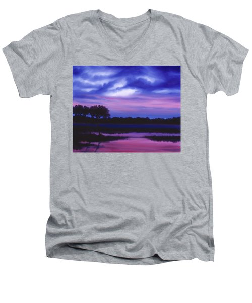 Purple Landscape Or Jean's Clearing Men's V-Neck T-Shirt