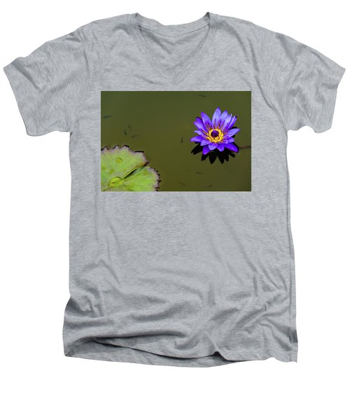 Purple Lily With Tiny Fish Men's V-Neck T-Shirt