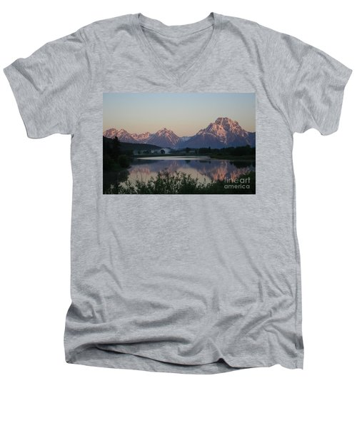 Men's V-Neck T-Shirt featuring the photograph Purple Mountain Majesty  by Paula Guttilla