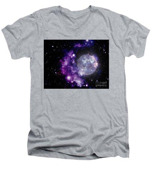 Purple Nebula Men's V-Neck T-Shirt by Kelly Awad