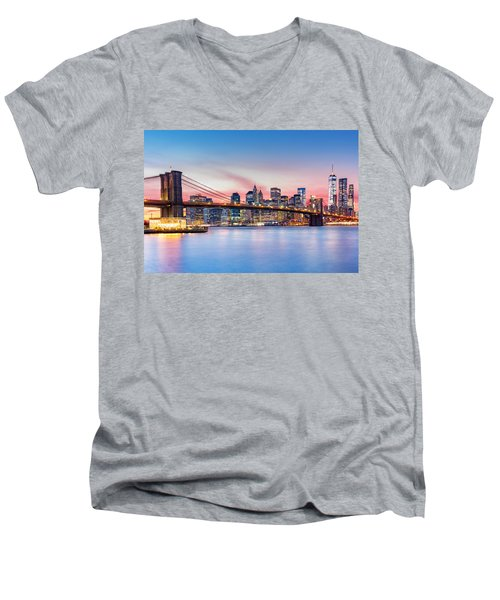 Purple Nyc Sunset Men's V-Neck T-Shirt