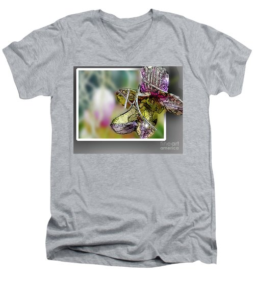 Purple Orchid Pop Men's V-Neck T-Shirt by Deborah Nakano