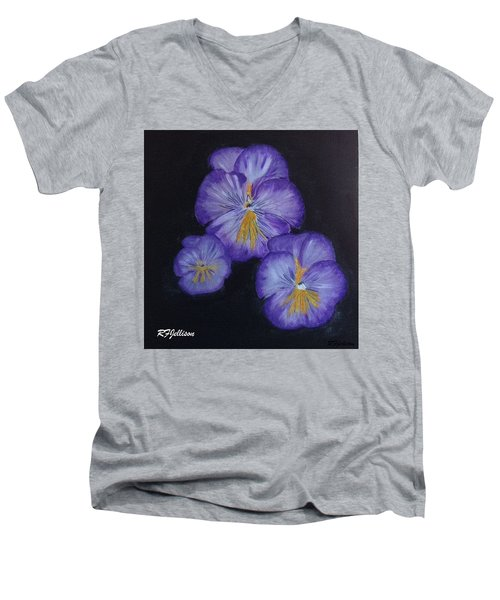 Men's V-Neck T-Shirt featuring the painting Purple Pansies by Rod Jellison