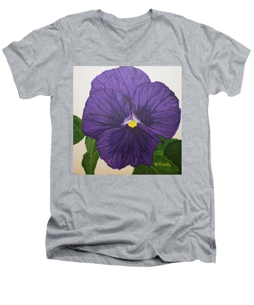 Men's V-Neck T-Shirt featuring the painting Purple Pansy by Wendy Shoults