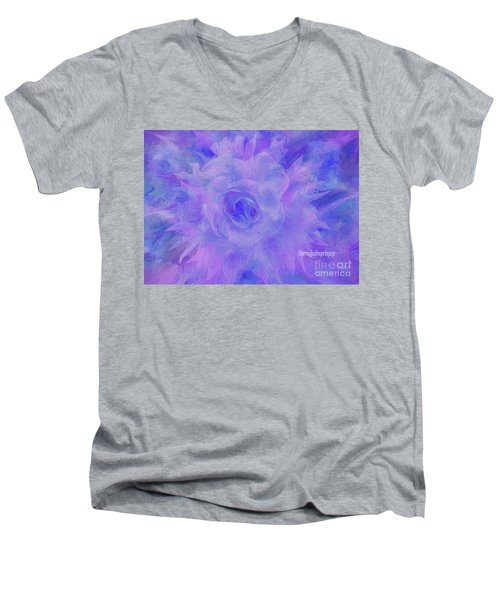 Purple Passion By Sherriofpalmspringsflower Art-digital Painting  Photography Enhancements Tradition Men's V-Neck T-Shirt by Sherri's Of Palm Springs
