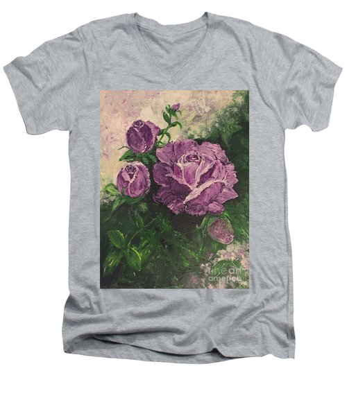 Purple Passion Men's V-Neck T-Shirt by Lucia Grilletto