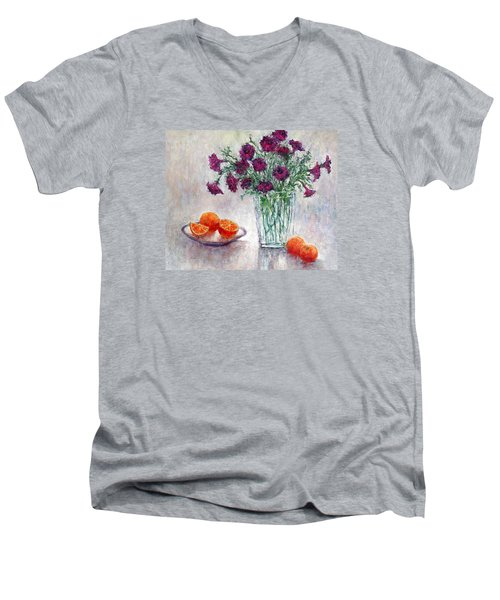 Purple Petunias And Oranges Men's V-Neck T-Shirt