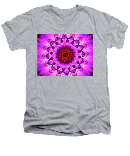 Purple, Pink And Orange Kaleidoscope Men's V-Neck T-Shirt