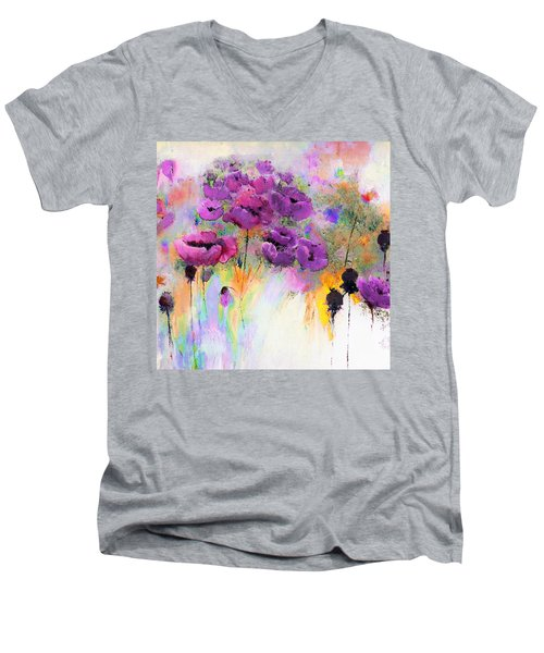 Purple Poppy Passion Painting Men's V-Neck T-Shirt by Lisa Kaiser