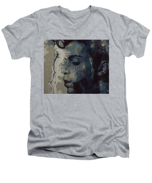 Men's V-Neck T-Shirt featuring the mixed media Purple Rain - Prince by Paul Lovering