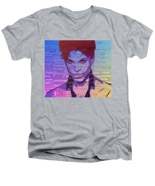 Purple Rain Typography Men's V-Neck T-Shirt