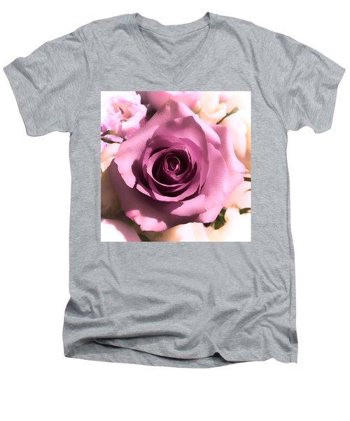 Purple Rose Men's V-Neck T-Shirt