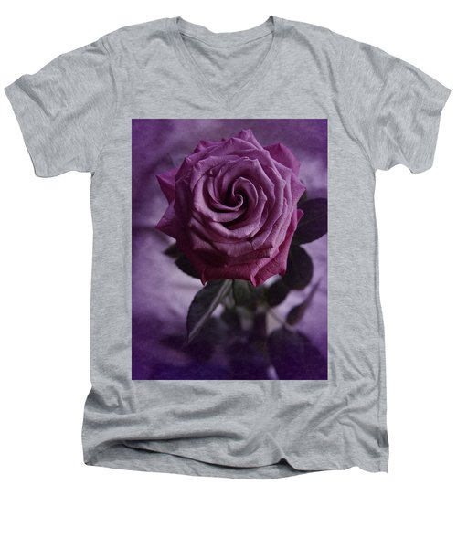 Purple Rose Of December Men's V-Neck T-Shirt by Richard Cummings