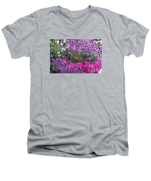 Purple Roses, Pinks And White Men's V-Neck T-Shirt