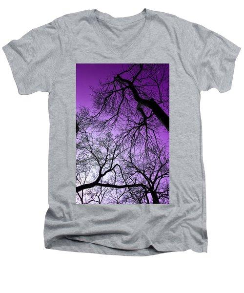 Purple Sky Men's V-Neck T-Shirt by Josy Cue