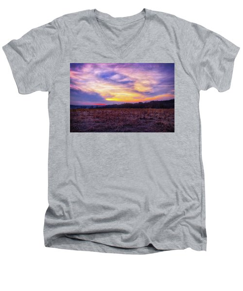 Purple Sunset At Retzer Nature Center Men's V-Neck T-Shirt by Jennifer Rondinelli Reilly - Fine Art Photography