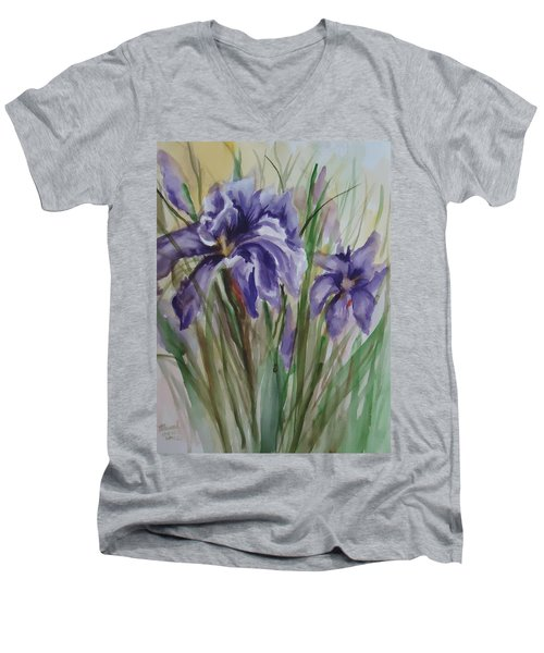 Purple Times 3 Men's V-Neck T-Shirt