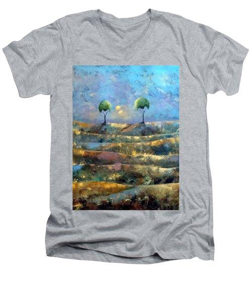 Purple Trees Men's V-Neck T-Shirt