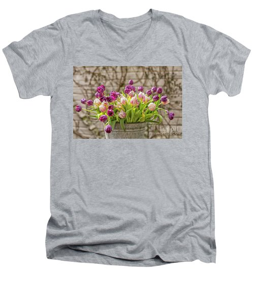 Men's V-Neck T-Shirt featuring the photograph Purple Tulips In A Bucket by Patricia Hofmeester