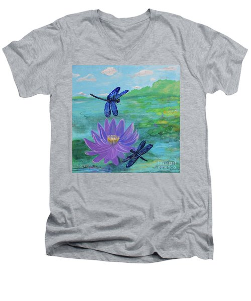 Purple Water Lily And Dragonflies Men's V-Neck T-Shirt