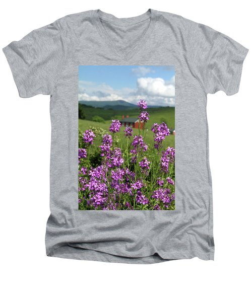 Men's V-Neck T-Shirt featuring the photograph Purple Wild Flowers On Field by Emanuel Tanjala