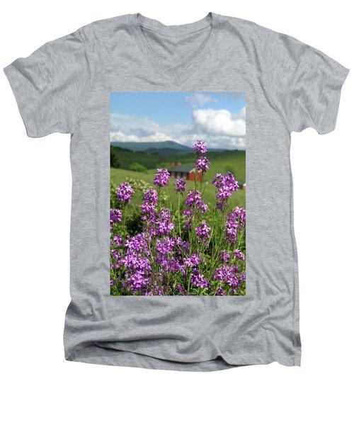 Purple Wild Flowers On Field Men's V-Neck T-Shirt