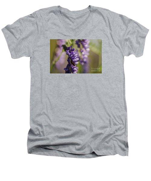 Purple Wildflowers Men's V-Neck T-Shirt by JT Lewis