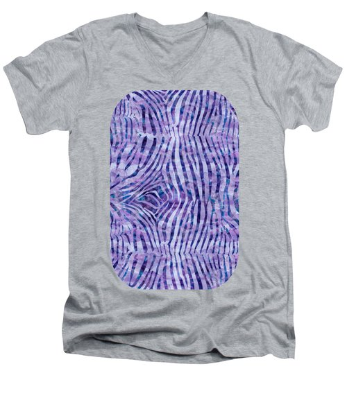 Purple Zebra Print Men's V-Neck T-Shirt