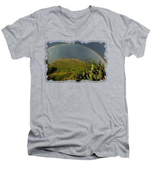 Pusch Ridge Rainbow H38 Men's V-Neck T-Shirt by Mark Myhaver