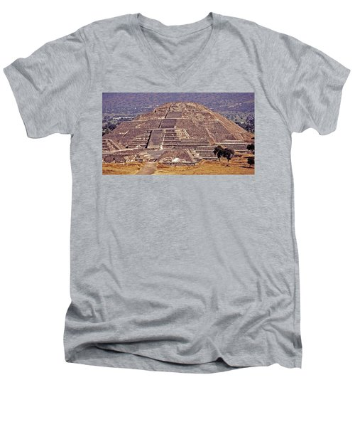 Pyramid Of The Sun - Teotihuacan Men's V-Neck T-Shirt by Juergen Weiss