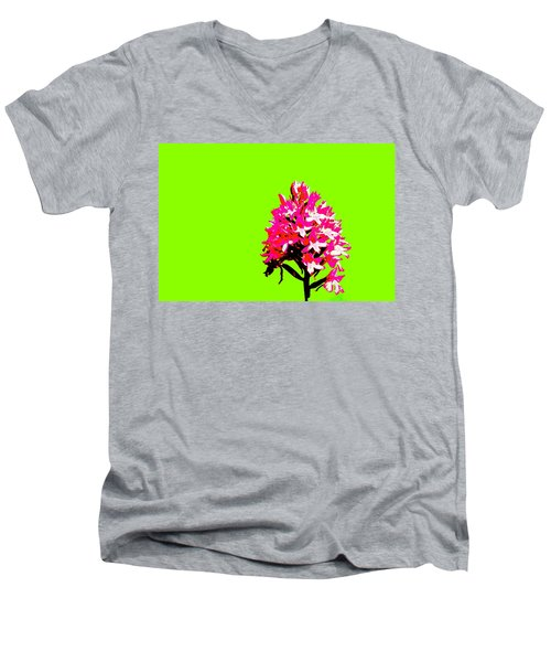 Green Pyramid Orchid Men's V-Neck T-Shirt