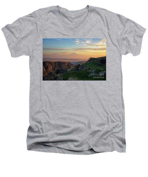 Qasakh Gorge And Ararat Mountain At Golden Hour Men's V-Neck T-Shirt by Gurgen Bakhshetsyan