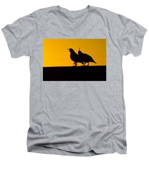 Quail At Sunset Men's V-Neck T-Shirt