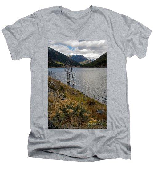Quake Lake Men's V-Neck T-Shirt by Cindy Murphy - NightVisions