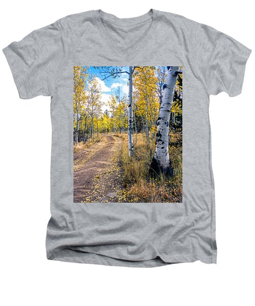 Aspens In Fall With Road Men's V-Neck T-Shirt