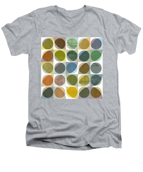 Men's V-Neck T-Shirt featuring the digital art Quarter Circles Layer Project Three by Michelle Calkins